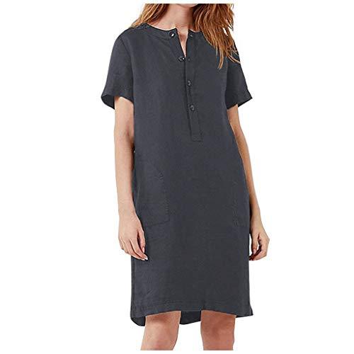 Mode Damen Casual Loose Sexy einfarbige Baumwolle und Leinen Kurzarm Kleid