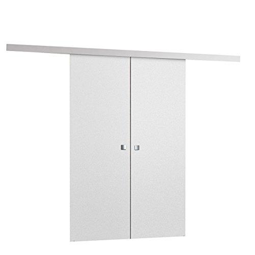 Schiebetürsystem Multi Duo, 3 Breite wählbar, Synchronisiertes Öffnen, Komplett-Set für Schiebetüren mit Bodenführung Abstandsführung Trennwände Innentüren (Weiß, Modell 120, mit Selbstschließer)