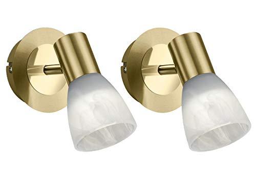 Trio Leuchten Moderner 1-flammiger LED Wandstrahler 2er Set in Messing matt mit Glasschirm in Alabasterfarbig - Spot dreh- und schwenkbar