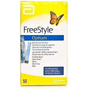 Freestyle Optium, un paquete con 50 tiras de prueba de glucosa en sangre