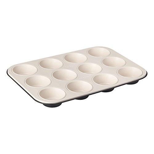 Zenker 12er-Muffinform Ø 7 cm CREME NOIR, Muffinbackform aus Stahlblech, Backblech mit keramisch verstärkter Antihaftbeschichtung (Farbe: Crème/Anthrazit), Menge: 1 Stück