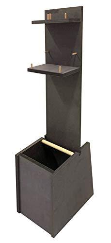 Colonnina igienizzante mani   In robusto legno   2 Mensole porta Gel e/o Guanti   Un cestino intergrato (Grigio)