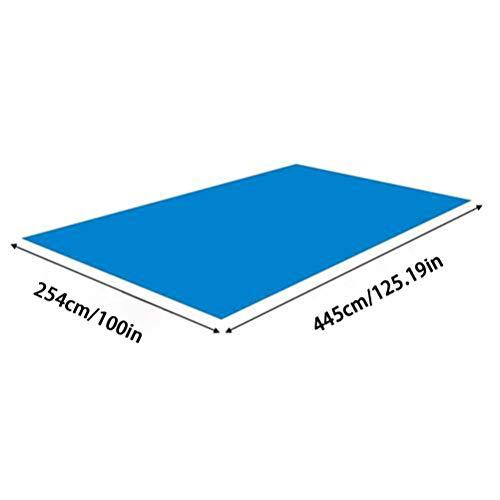 Alfombrilla de piscina, paño de suelo para piscina, cojín de piscina, rectangular, plegable, impermeable, protector de suelo para piscinas inflables, piscinas para remo, 445 x 254 cm.