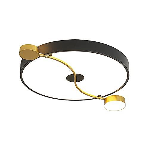 PHTDCQ Lámpara De Techo LED Redonda Nórdica Empotrada En Oro Negro Luz De Tres Colores Hierro Forjado Lámpara De Techo De Aluminio Creatividad Minimalista Moderna Luminaria Protección Para Los Ojos Pa