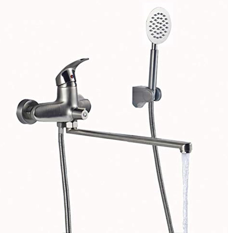 HUASAA Beste Qualitt Lange Auslauf Auslauf Badewanne Wasserhahn Wand Montiert Lngere Nase Badewanne Mixer mit Handbrause und Halterung