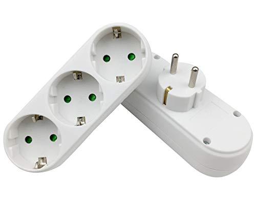 INIBUD 2/3Löcher Steckdosen EU DE Reiseadapter Home Stecker 16A/250V/3500W (Weiß/3 Löcher/2PCS)