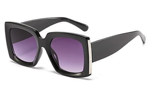 ODNJEMSD Gafas de sol Mujer Cuadrado Brillante Negro Gafas de sol