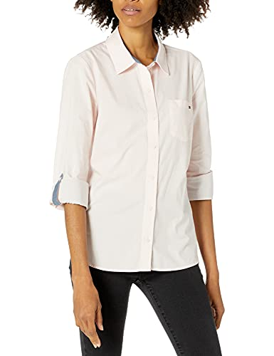 Tommy Hilfiger Women's Classic Long Sleeve Roll Tab Button Down Shirt (Standard and Plus Size), Ballerina Pink, 3X