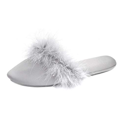 BCTEX COLL Women's Pointed-Toe Chic Home Slippers, Asymmetric Design Satin House Shoes Fluffy Feather/Ruffled Slip on Sandal Indoor/Outdoor No Slip Ladies Graceful Bride Slippers with Rubber Sole