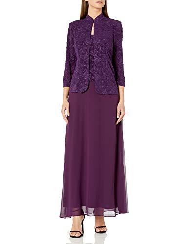 Alex Evenings Women's Jacquard Long Dress Mandarin-Neck Jacket (Petite Regular), Eggplant, 18