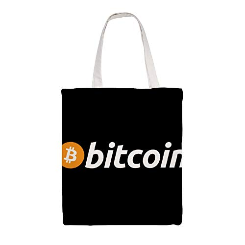 Cotton Canvas Tote Bag, Bitcoin (BTC) The Original Shoulder Grocery Shopping Bags Cloth Shopping Bag, 14