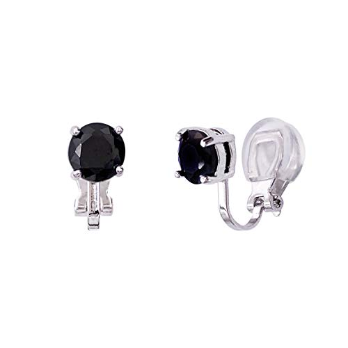 LAXPICOL Clip on Earrings Black Cubic Zirconia CZ 6MM Stone Stud Silver Tone No Piercing