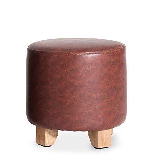 LXTIN Taburete de Maquillaje Taburete de pie de Madera Maciza de Cuero sintético Asiento de Banco, Taburete para el hogar y la Oficina-marrón 29x29x29cm (11x11x11inch)