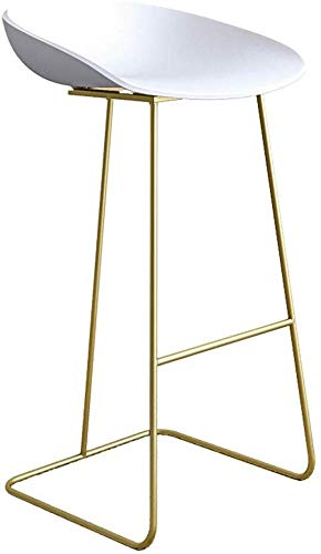 Barkruk, lage rugleuning, ontbijt, moderne barkruk met polypropyleen en onderstel van metaal, bistro, keuken, stoel, pubstoel, wit, maat: zithoogte: 27,5 inch