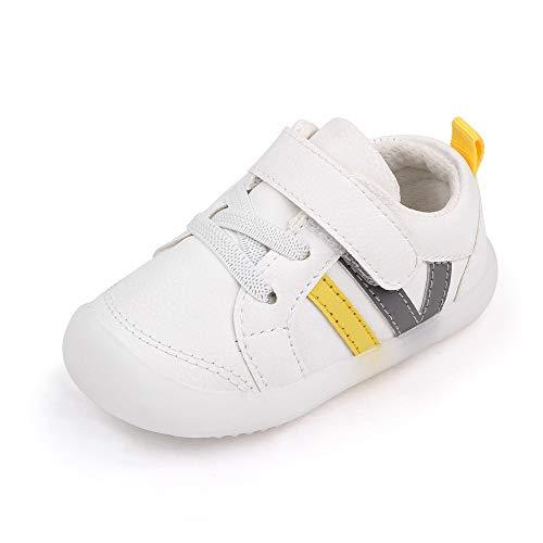MASOCIO Lauflernschuhe Babyschuhe Junge Mädchen Baby Schuhe Jungen Sneaker Lauflern 6-12 Monate Größe 19 Weiß Grau