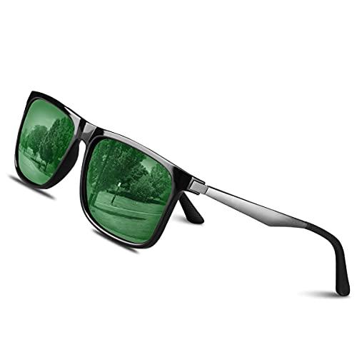 CHEREEKI Gafas de sol Hombre Polarizadas Mujer Gafas Sol Retro Clásico 100% UV400 Protección Super Ligero Marco Aviador Golf Pesca Conducción Aire Libre Deportivas Gafas (Verde)