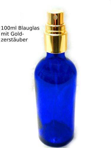 1 x Blau Glas Sprüh Flasche 100 ml mit goldenem Pumpsprühkopf Zerstäuber zum Befüllen z.B. mit Energie-Wasser als Raumspray oder zu kosmetischen Zwecken, Befeuchtung. Blauglas