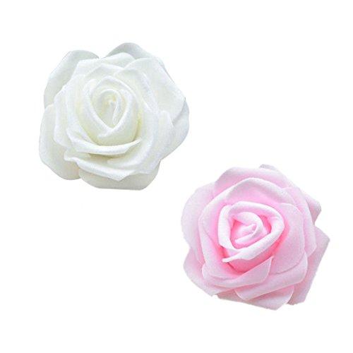 joyMerit 100 Stück Rosenköpfe Foamrosen Schaumrosen künstliche Rosen für DIY Blumensträuße Hochzeit Party - Creme + Rosa
