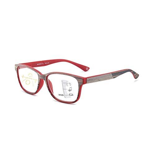 PWMSJ PWYJ Lesebrille Männer Frauen Holz Presbyopic Brillen Mode Sehbrillen Dioptrien Oculos +1 +1,5 +2 +2,5 +3 +3,5-7.30 (Color : Red, Size : +200)