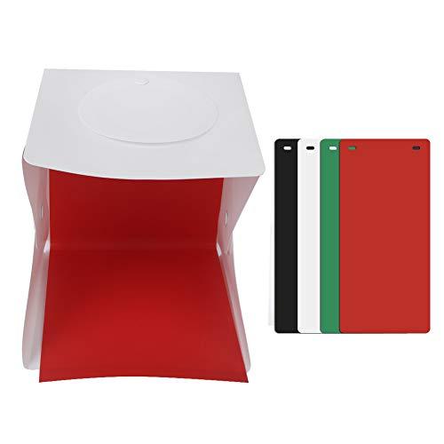 Luz de Estudio de fotografía Mini Anillo de luz Caja de luz Plegable Caja de Fotos Cámara de Estudio de fotografía LED Carpa de Tiro con Tablero de Fondo Verde Rojo Negro Blanco