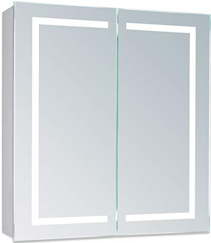 Neue Design Badkamerspiegelkast met LED-verlichting 70cm(h) X65cm(b) X15cm(d) Draadloze Demister, scheerstopcontact en sensorschakelaar met verlichting C28