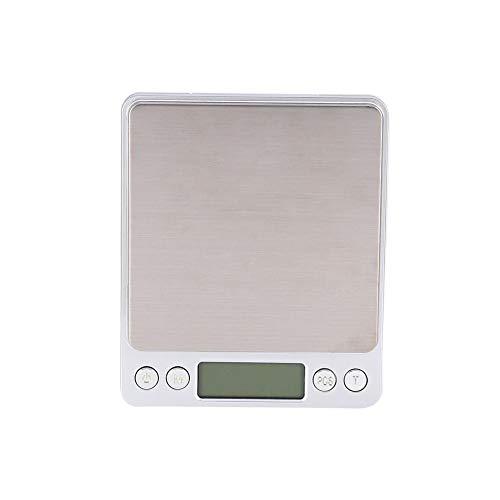 Digitale weegschaal, 3000g * 0.1g Digitale voedselweegschaal met roestvrijstalen platform Multifunctionele keukenweegschaal LCD blauwe achtergrondverlichting Schermweergave