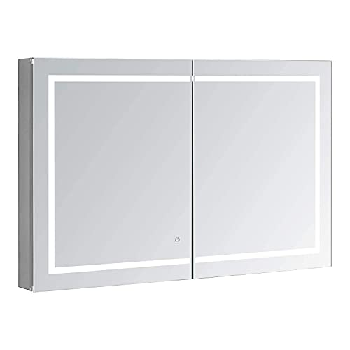 AQUADOM Royale Plus, 48in x 36in x 5in, Bathroom Medicine Cabinet w/LED Lighting, Defogger, Electrical Outlet, Integrated LED 3X Magnifying Mirror