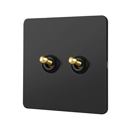 Tritow Interruptor de luz de Pared Industrial Retro Interruptor de Palanca Negro de Interruptor de Palanca de latón Interruptor de Palanca 1-4 Gang Lámpara de Control Doble Individual de 2 vías