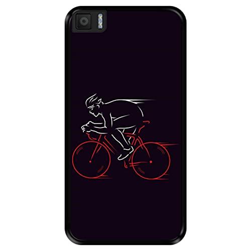 Hapdey Funda Negra para [ Bq Aquaris M5.5 ] diseño [ Atleta, Ciclista en Bicicleta ] Carcasa Silicona Flexible TPU