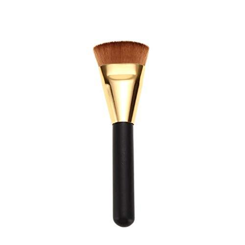 JFFFFWI Pinceaux à paupières Pinceau à tête Plate Pinceau de Maquillage Pinceau de Fond de Teint Pinceau Contour Noir doré Poignée en Bois Capacité de réparation Brosse Poudre Brosse (Paquet Unique)
