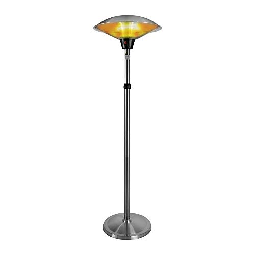 Electric Patio Heater 1500W for Outdoor Heating with Adjustable Height, Quiet Operation, Free Standing and Waterproof Space Warmer
