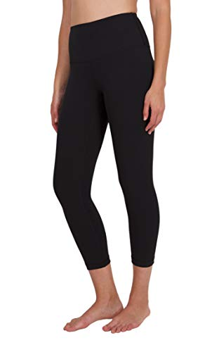 "90 Degree By Reflex High Waist Squat Proof Capris - 22"" Interlink Workout Capris - Black - Small"
