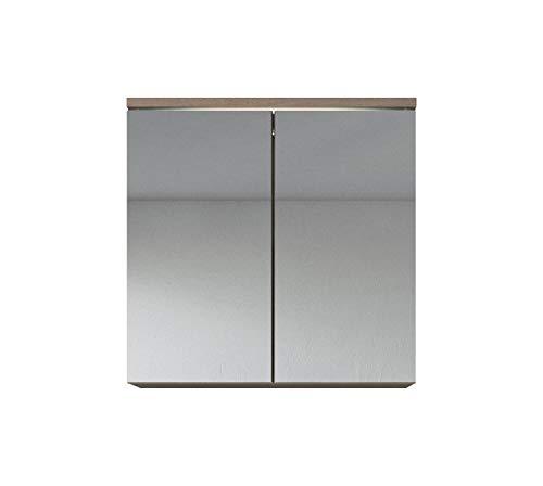 Badezimmer Spiegelschrank Toledo 60 cm – Stauraum Unterschrank Möbel Zwei Türen Weiß Schwarz Sonoma Eiche hell Lefkas Bodega (Lefkas)