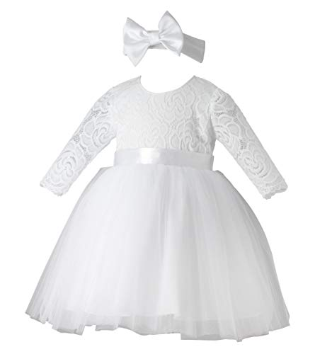 Boutique-Magique Taufkleid Baby Mädchen Langarm + Haarband Gr. 62, weiß