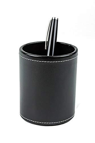 DELMON VARONE - Stifteköcher aus Cambridge Top Grain Leder schwarz, Echtleder Stiftebecher mit PU Innenverkleidung und rutschfester Vliesunterseite, Edler Stiftehalter rund für Schreibtisch und Büro