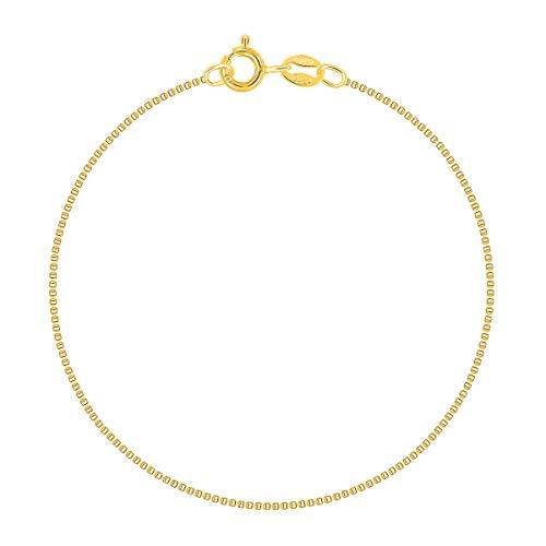 PLANETYS - Venezianierkette Knöchelkette Fußkettchen 925 Sterling Silber 18K Vergoldet - 1 mm Breite