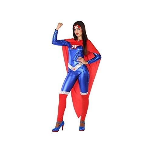 Atosa-61458 Atosa-61458-Disfraz Heroe Comic-Adulto Mujer, Color azul, XS a S (61458 , color/modelo surtido