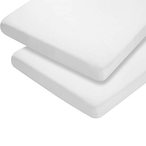 (Pack of 2) Premium Quality Thick Travel COT Fitted Sheets 65 X 95 cm 100% Cotton. (White)