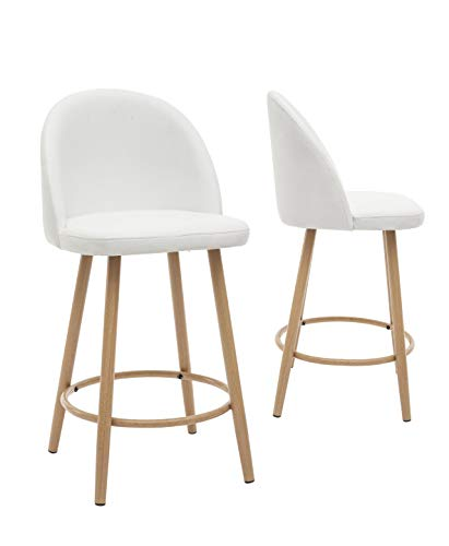 2 tabourets de bar assise similicuir blanc