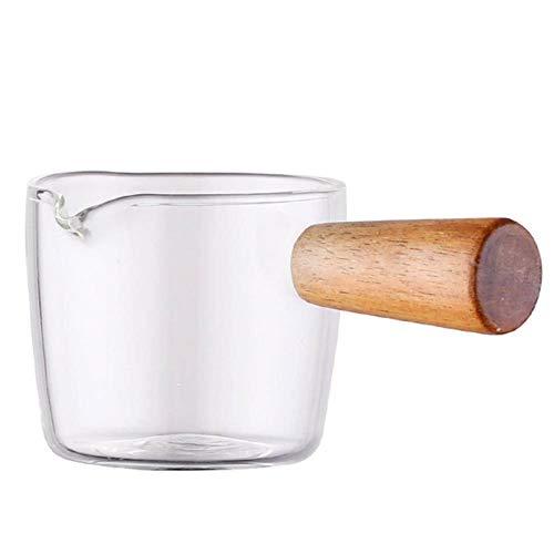 N-B Mini Pot à Lait 100 ML / 3.5 oz Tasse à Lait Transparente en Verre avec poignée en Bois pour Faire Un Plat de goût de Salade et de Sauce Latte Cappuccino