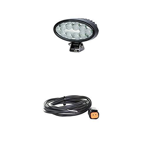 Hella 1GB 996 486-001 Arbeitsscheinwerfer - Oval 90 Gen. II - LED - 12V/24V - 4300lm - Anbau - Nahfeldausleuchtung + Kabelsatz, Arbeitsscheinwerfer, 2.000 mm Leitung mit Deutsch-Stecker, Schwarz