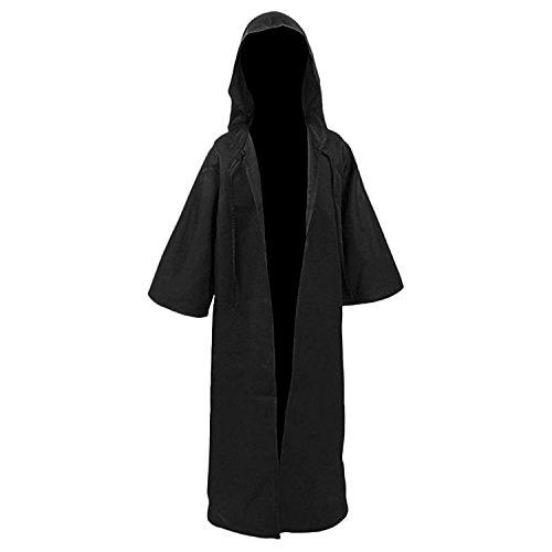 Men TUNIC Hooded Robe Cloak Knight Fancy Cool Cosplay Costume Black Kids M