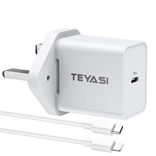 TEYASI 20W USB C Power Adapter Plug Fast Charge,Phone 12 Charger Plug and Cable 1M Fast Charging for iPhone 12 Pro Max Mini 11 X XR XS 8 SE 2020 iPad,Type C Power Delivery 3.0 PD Plug UK and Lead etc