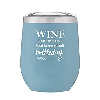 Stainless Steel Stemless Wine Glass Tumbler with Lid Gift Ideas for Wife Best Friend Sister Women Mom Mommy Funny Tumblers with Sayings 12 oz  Matte Ice Blue