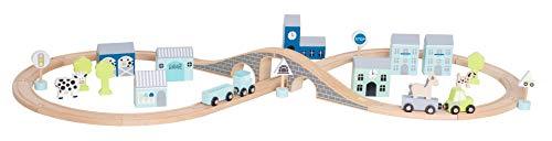 JaBaDaBaDo W7141 Holz Autobahn Spielset mit Straßen Schienen, Figuren und Tieren in Box blau