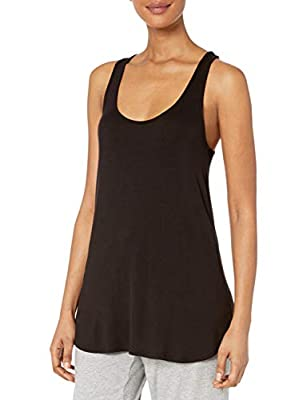 Amazon Brand - Mae Women's Loungewear Racerback Tank Top, Black, Large