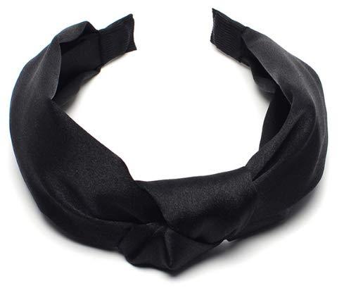 DeemoShop Solid Satin Cross Headband for Women Lady Twisted Knot Hairband Wide Turban Hair Hoop Hair Accessories Headwear