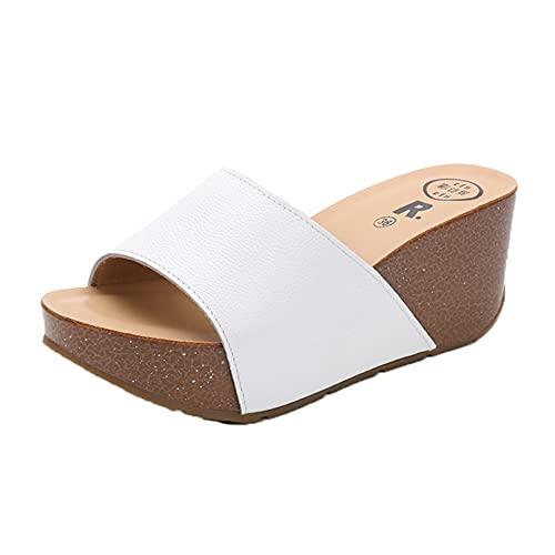 Zapatillas de mujer Playa con punta abierta Deslizadores de playa Simple Primavera Verano Plataforma de cuña Casa de secado rápido Zapatos de jardín para el hogar