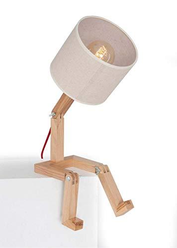 Homemania Lampada da Tavolo Omino, Rovere in Legno, 15 x 15 x 45 cm, 1 x E27, 24W