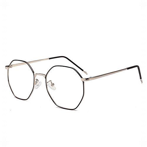 KAILLEET Retro Achteckige Brillengestell Optische Metallbrillen für Herren/Damen (Farbe : Silver/Black)